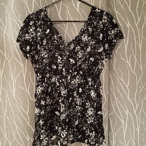 Torrid Mesh Floral V Neck Top